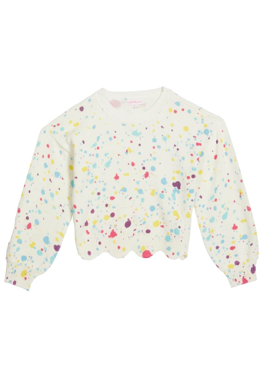 Design History Girls Girl's Paint Splatter Scalloped Sweater, Size S-XL
