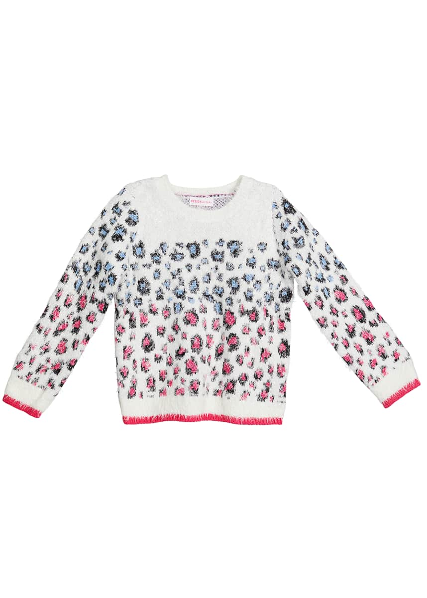 Design History Girls Girl's Leopard Print Crewneck Sweater, Size 2-6X