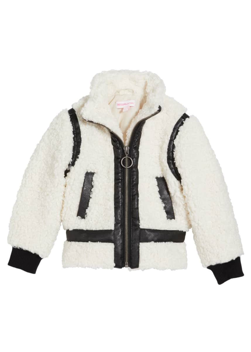 Design History Girls Girl's Sherpa Faux Leather Trim Jacket, Size 2-6X
