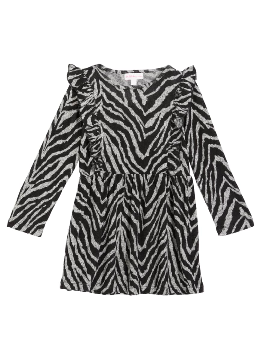 Design History Girls Girl's Zebra-Print Ruffle Dress, Size 2-6X