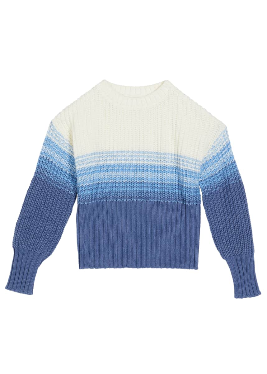Design History Girls Girl's Marled Knit Gradient Striped Sweater, Size S-XL