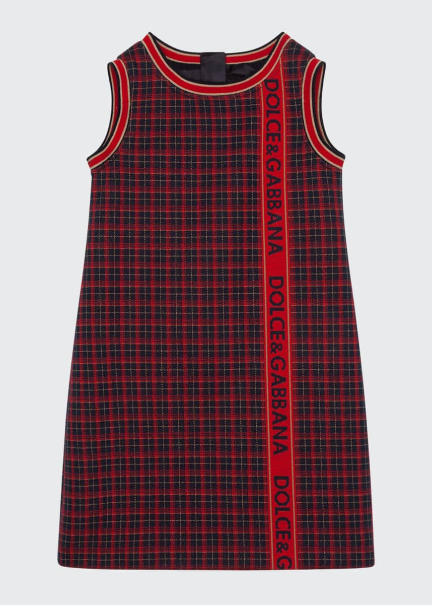 Dolce & Gabbana Girl's Check Logo Taped Sleeveless Dress, Size 8-12
