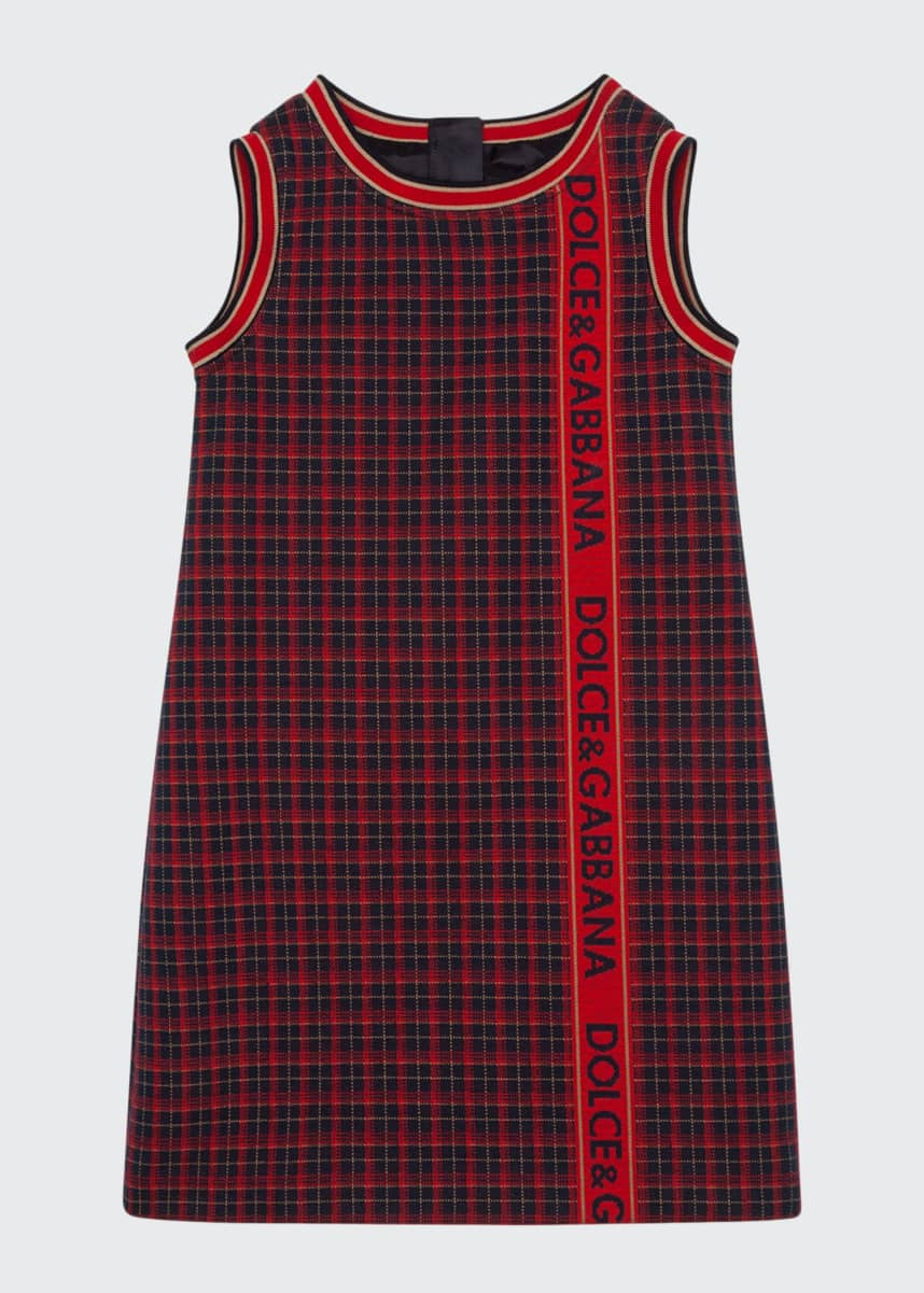Dolce & Gabbana Girl's Check Logo Taped Sleeveless Dress, Size 4-6