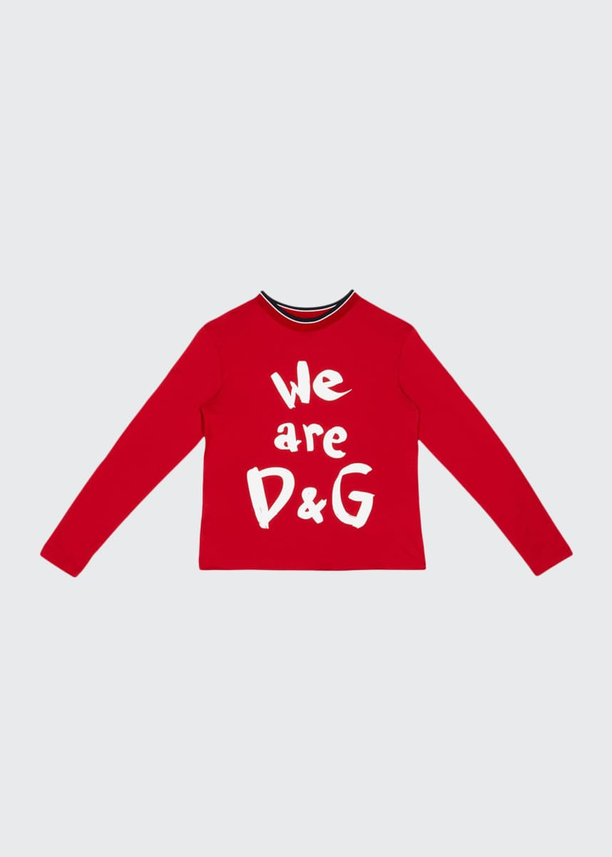 Dolce & Gabbana Kid's We Are D&G Logo Printed Shirt, Size 8-12