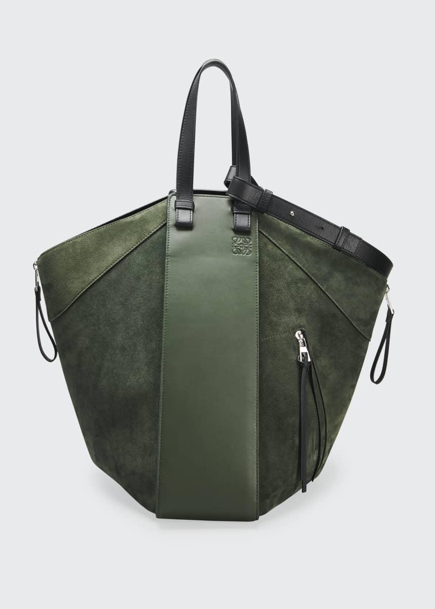 Loewe Hammock Suede & Leather Two-Tone Tote Bag
