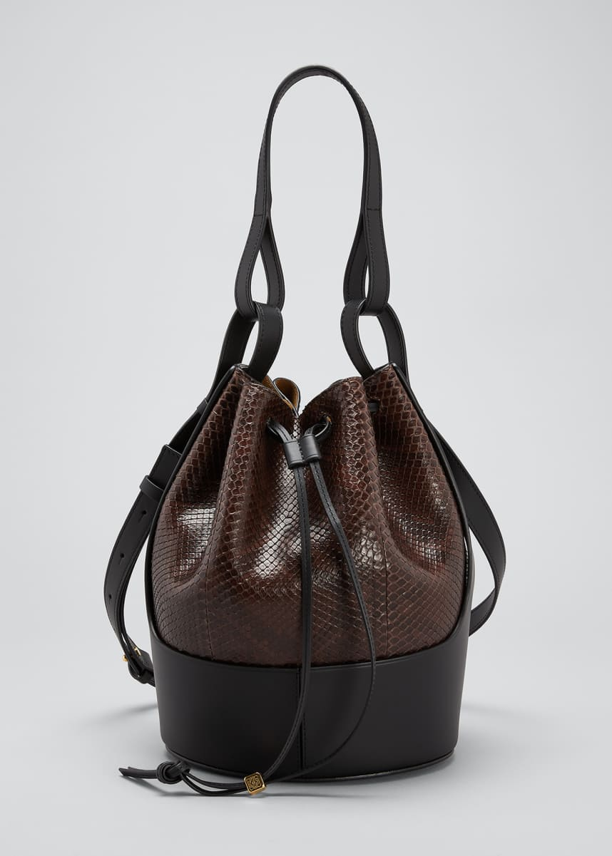 Loewe Balloon Bicolor Python Bucket Bag