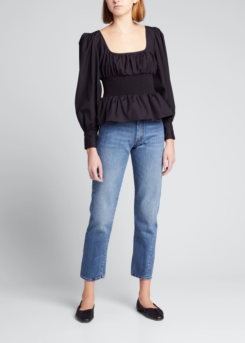 Ciao Lucia Colombo Smocked Puff-Sleeve Top