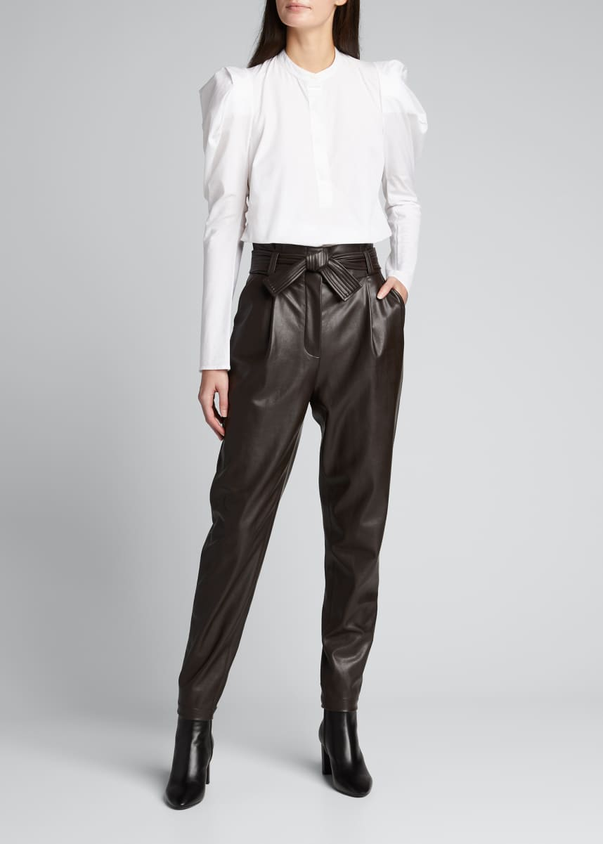 A.L.C. Cobey Faux-Leather Belted Pants