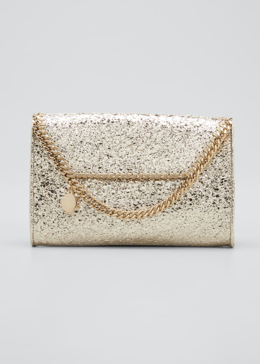 Stella McCartney Falabella Mini Metallic Crackled Wallet on Chain
