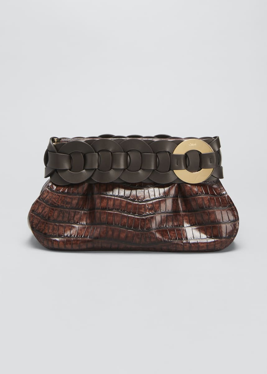 Chloe Darryl Shiny Croc-Embossed Clutch Bag