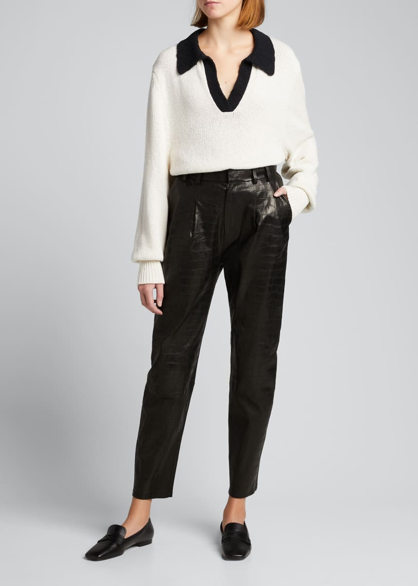 SPRWMN Embossed Leather Trousers