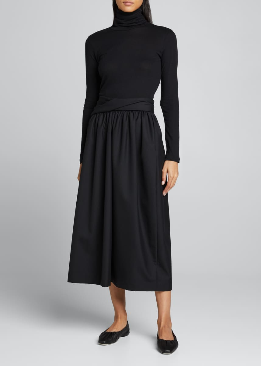 Majestic Filatures Cotton-Cashmere Long Sleeve Turtleneck Top