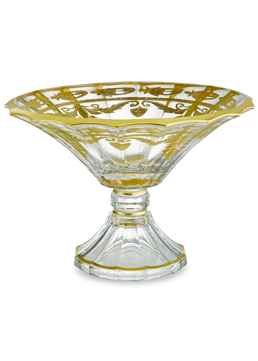 Arte Italica Vetro Gold Scalloped Footed Bowl