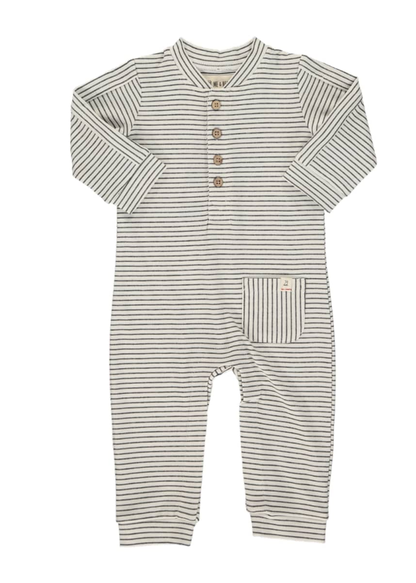 Me & Henry Boy's Striped Jersey Long-Sleeve Overall, Size 3-18M