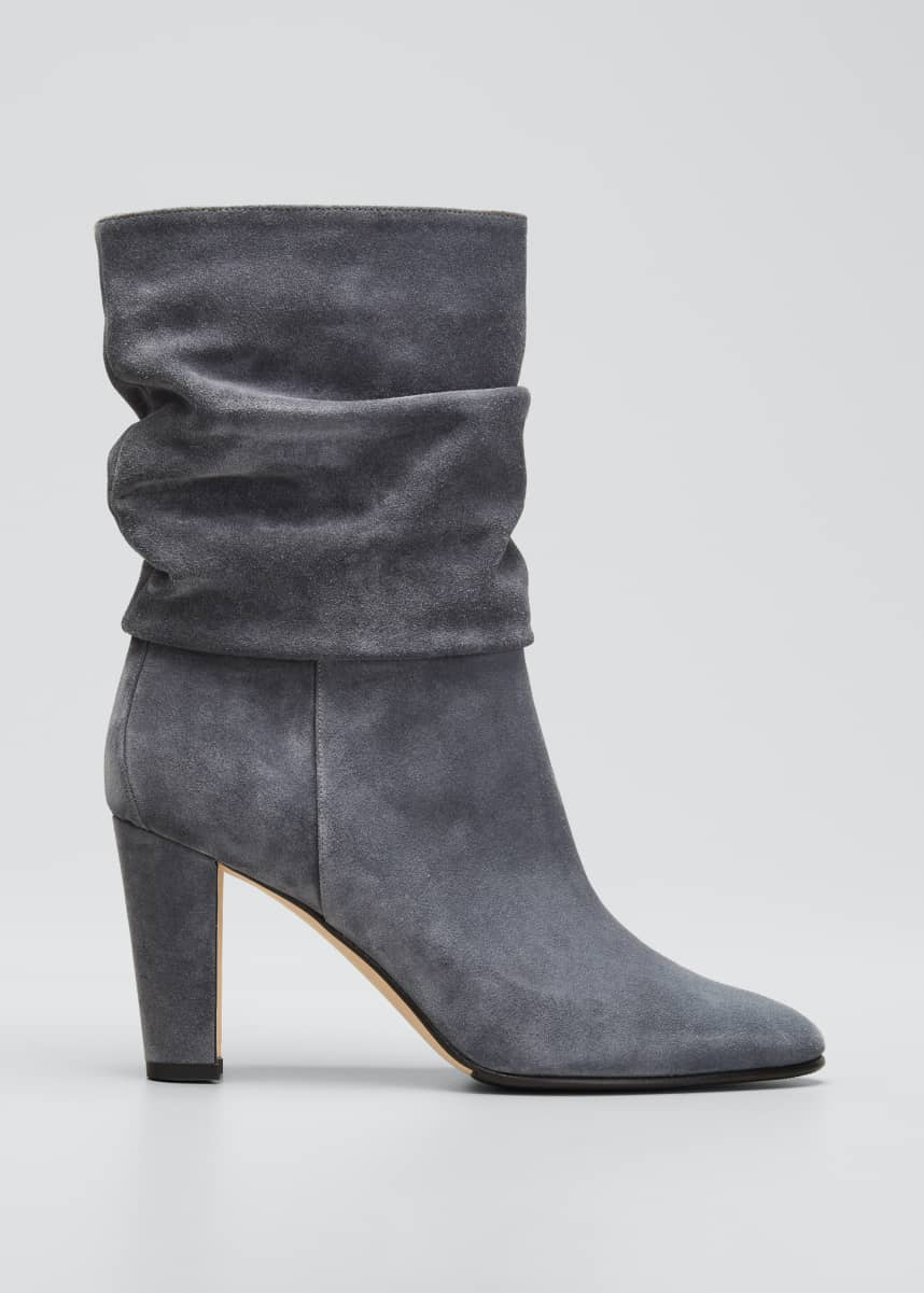 Manolo Blahnik Shushan Slouchy Suede Pull-On Boots