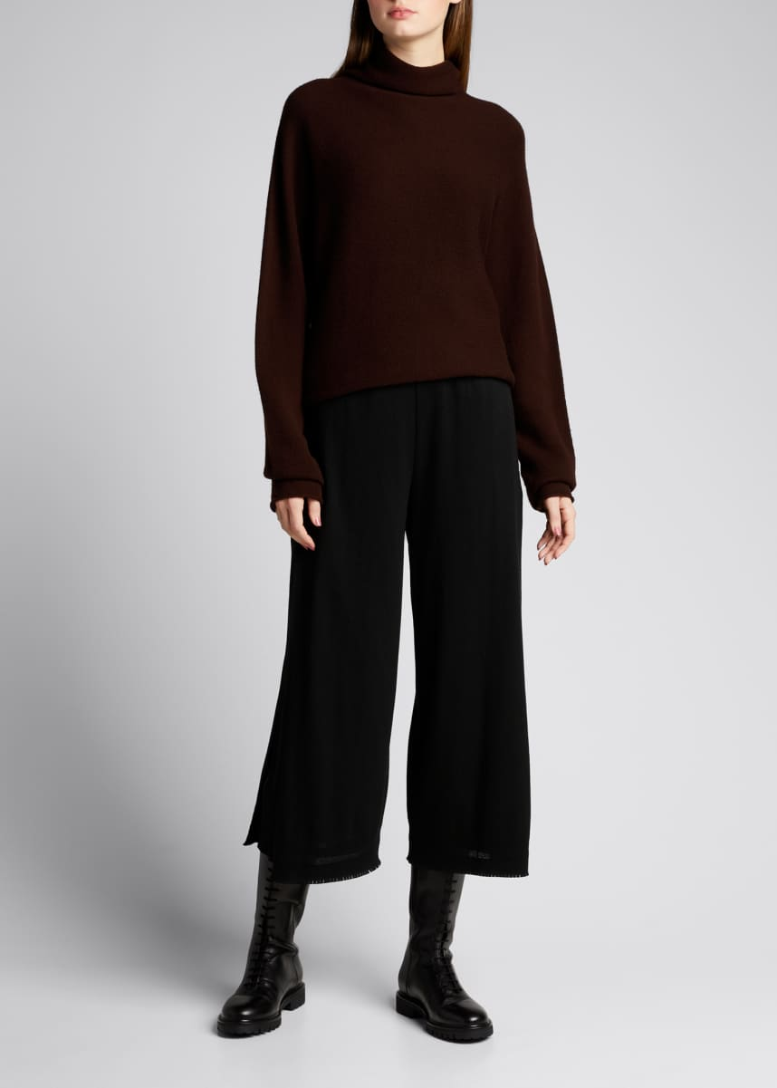 Issey Miyake Le Pain Raw-Edge Cropped Wide-Leg Pants