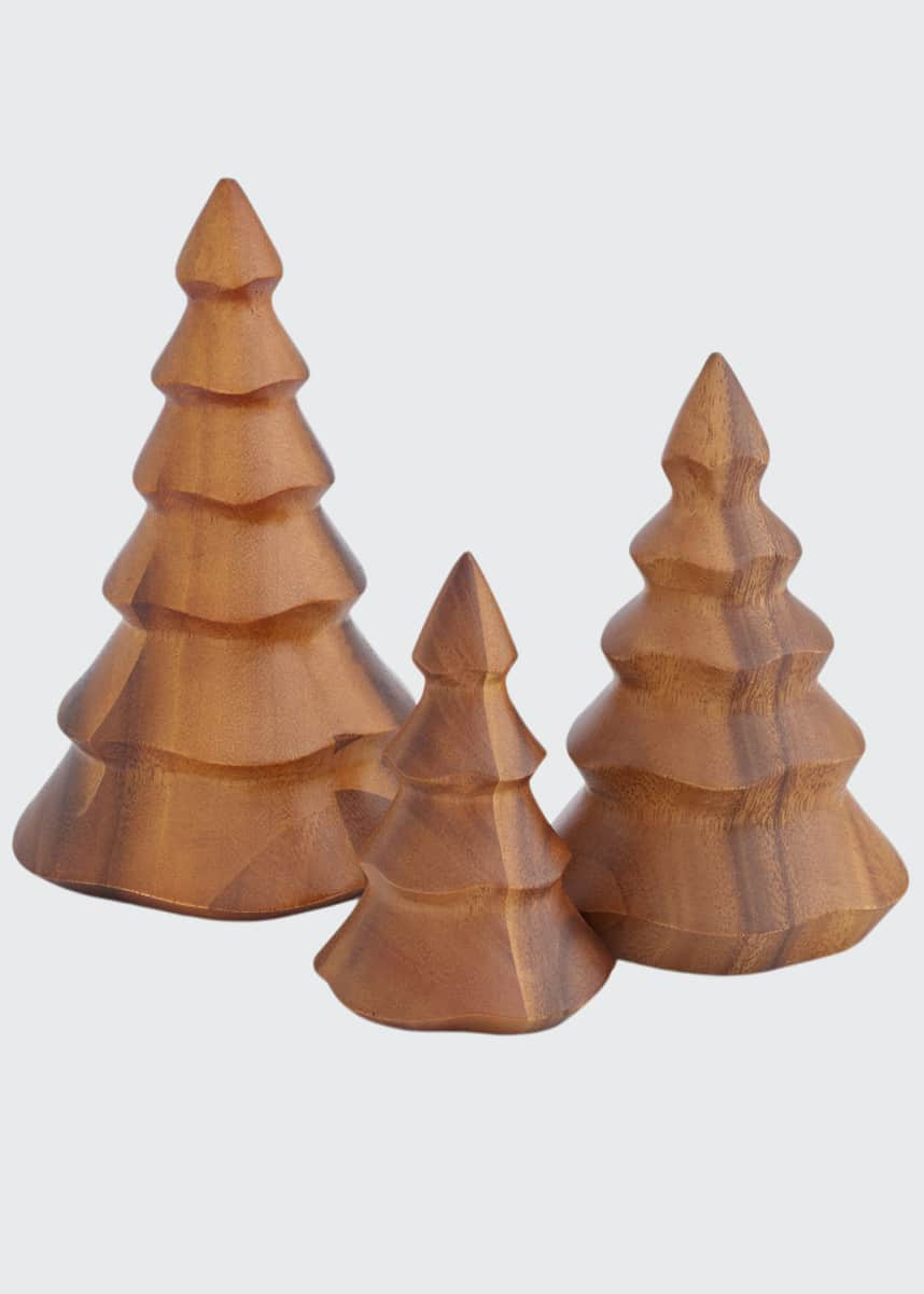 Nambe Deck the Halls Wood Christmas Trees, Set of 3