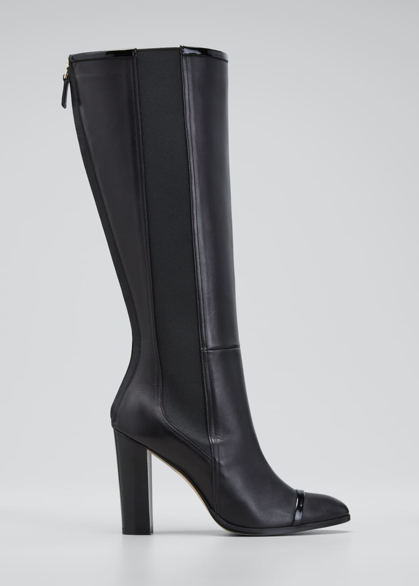 Malone Souliers Bruna 95mm Mixed Leather Knee Boots