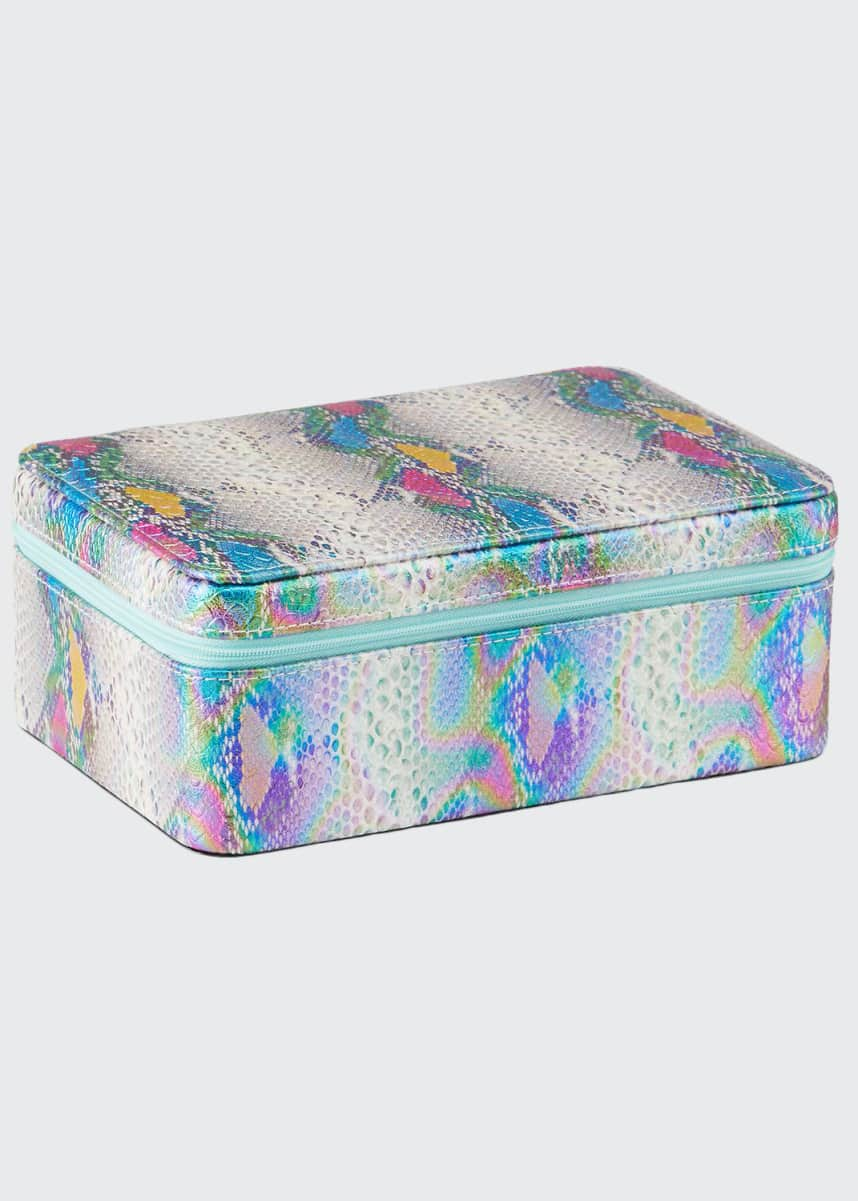 Bari Lynn Girl's Holographic Python Printed Jewelry Case