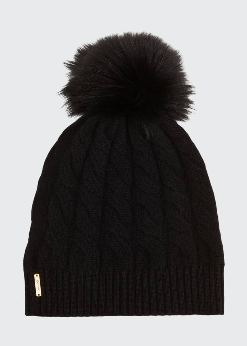 Gorski Cashmere Cable-Knit Beanie with Fur Pompom