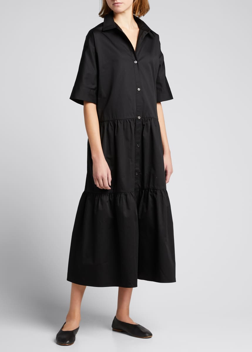 Co Tiered Cotton Maxi Shirtdress