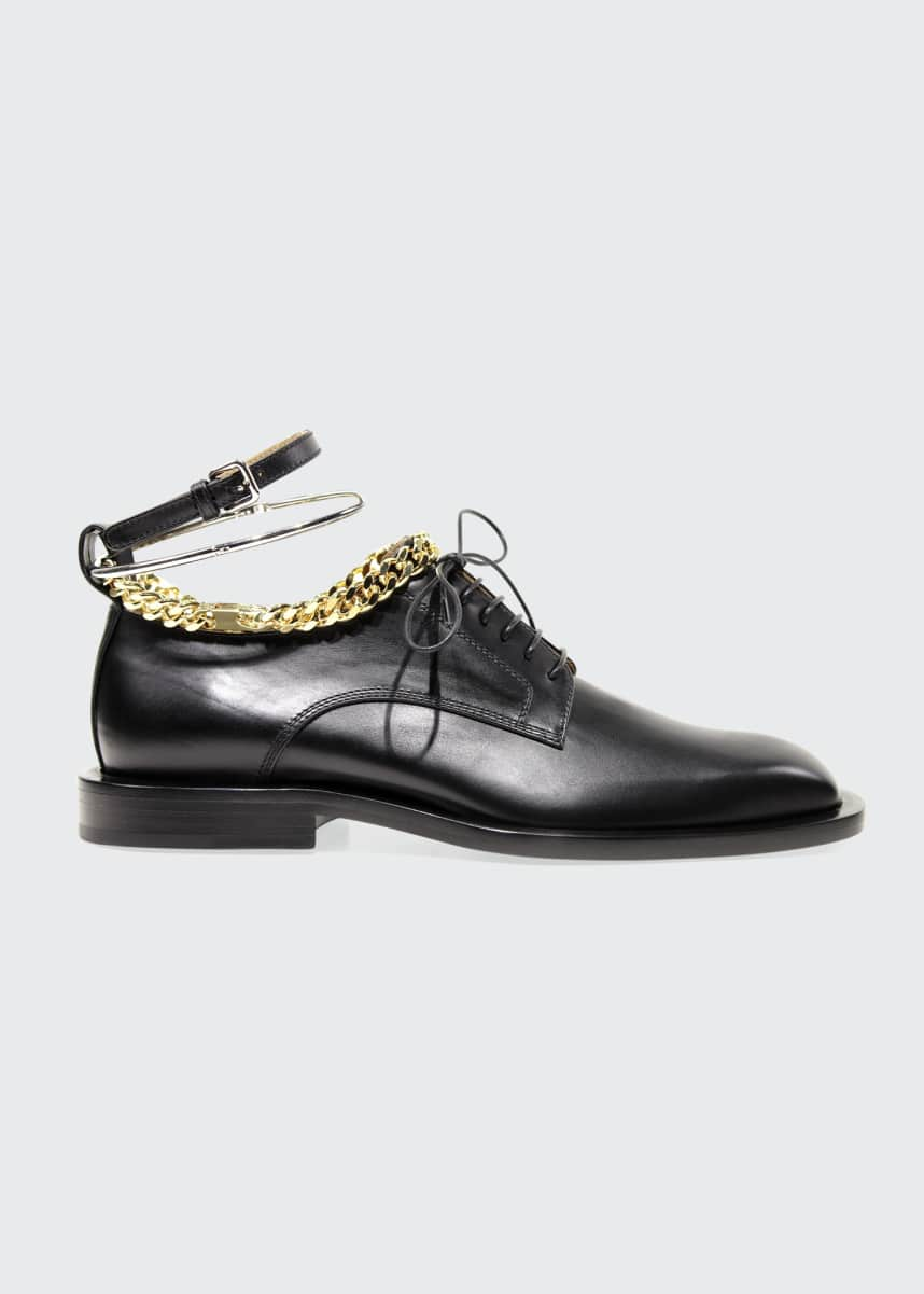 Jil Sander Chain Leather Lace-Up Oxfords w/ Metal Bracelet