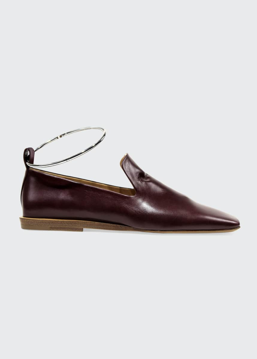 Jil Sander Leather Loafers w/ Metal Bracelet