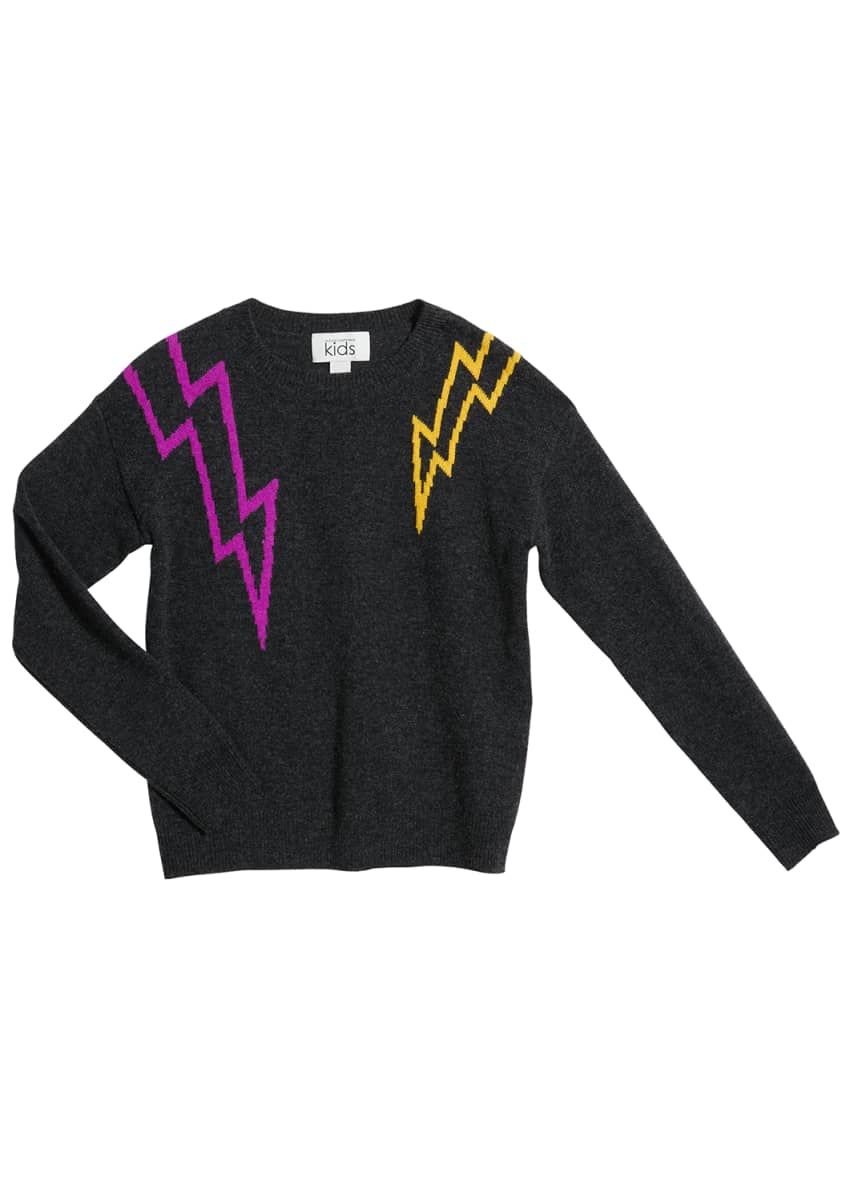 Autumn Cashmere Girl's Lightning Bolt Wool-Cashmere Sweater, Size 8-16