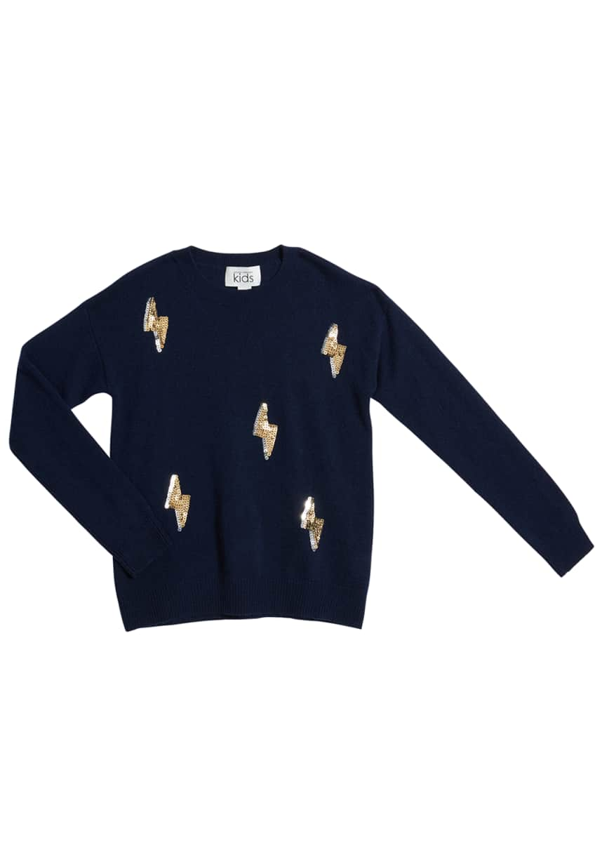 Autumn Cashmere Girl's Sequined Lightening Bolt Wool-Cashmere Sweater, Size 8-16