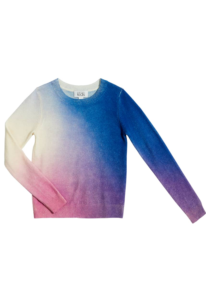 Autumn Cashmere Girl's Ombre Printed Wool-Cashmere Sweater, Size 8-16