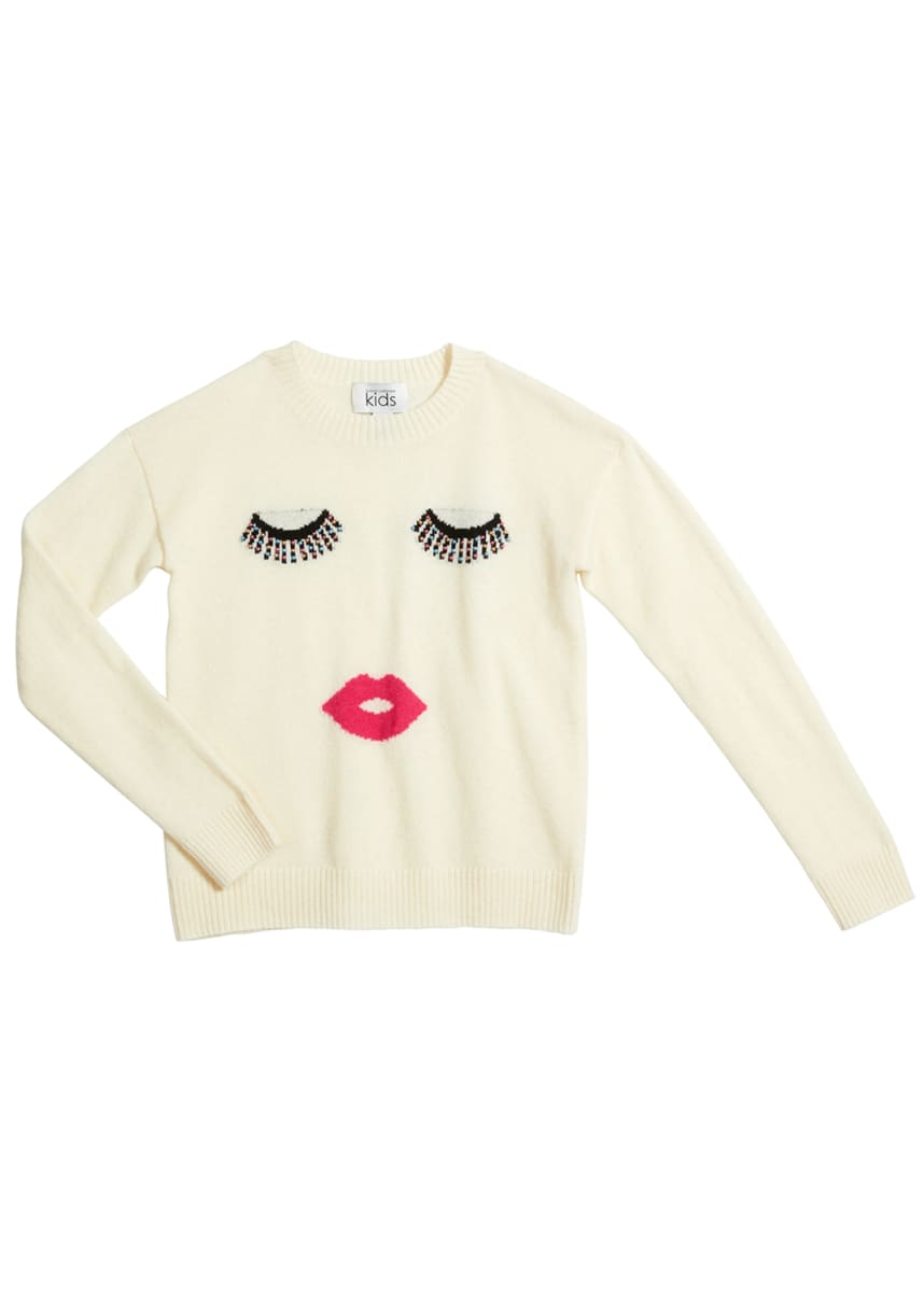 Autumn Cashmere Girl's Studded Face Wool-Cashmere Sweater, Size 8-16
