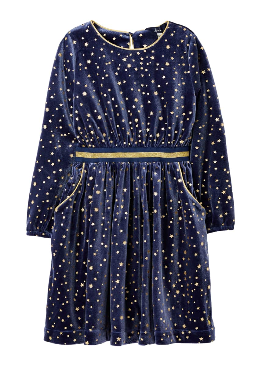 Joules Girl's Twirl Star Print Velvet Party Dress, Size 4-12