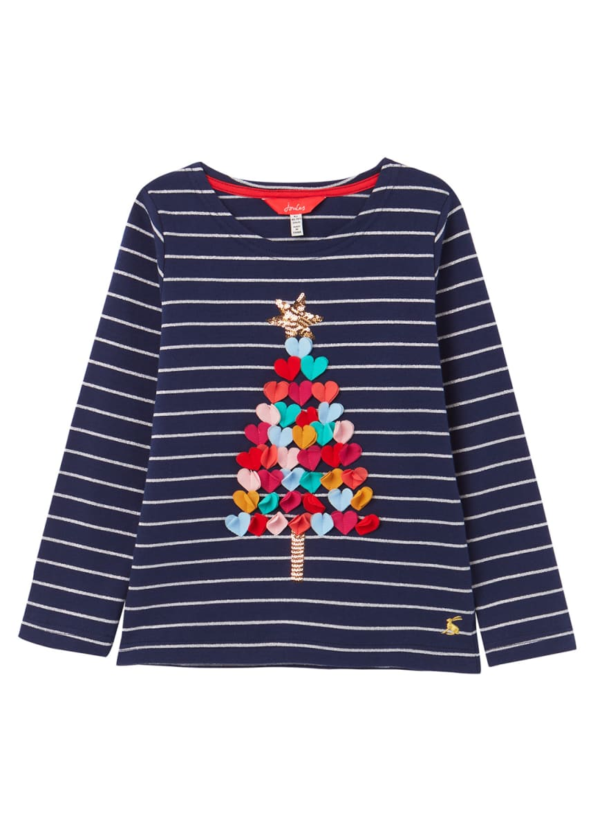 Joules Girl's Harbour Luxe Striped Christmas Tree Shirt, Size 2-6