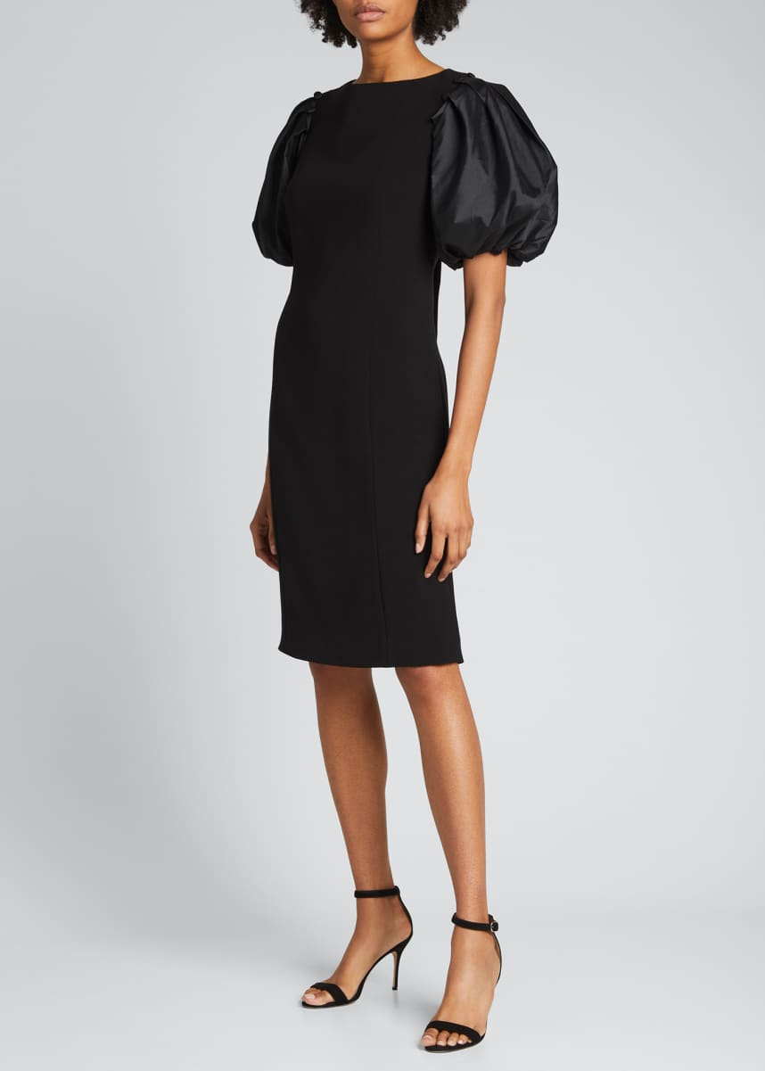 Rickie Freeman for Teri Jon Puff-Sleeve Crepe Sheath Dress