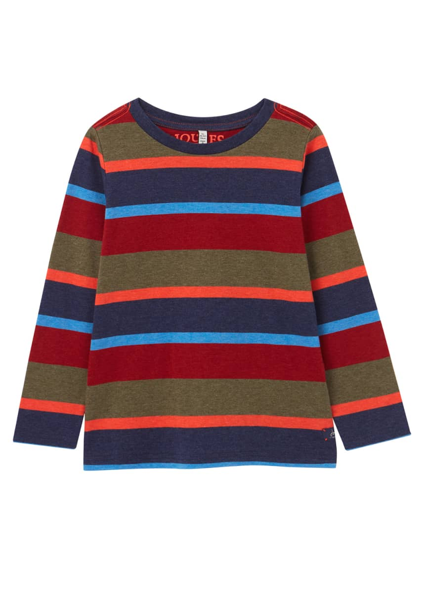 Joules Boy's Marlin Multicolor Striped Long-Sleeve Shirt, Size 2-6