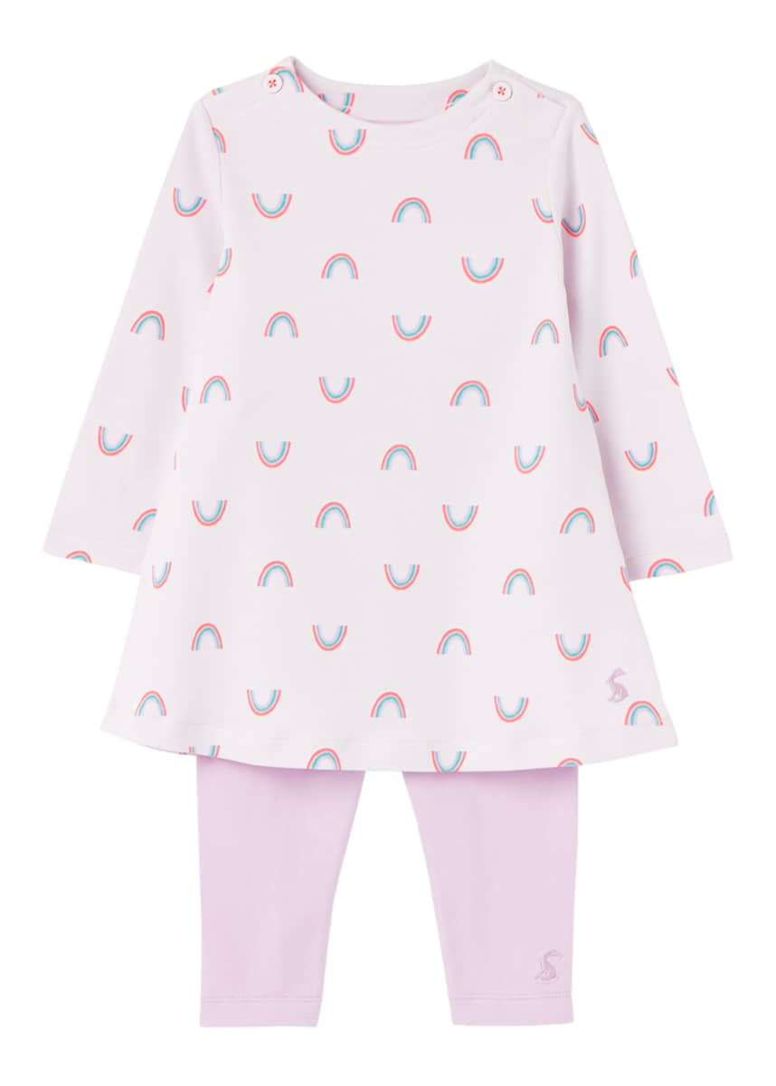 Joules Girl's Christina Rainbow Printed 2-Piece Dress Set, Size 3-24M