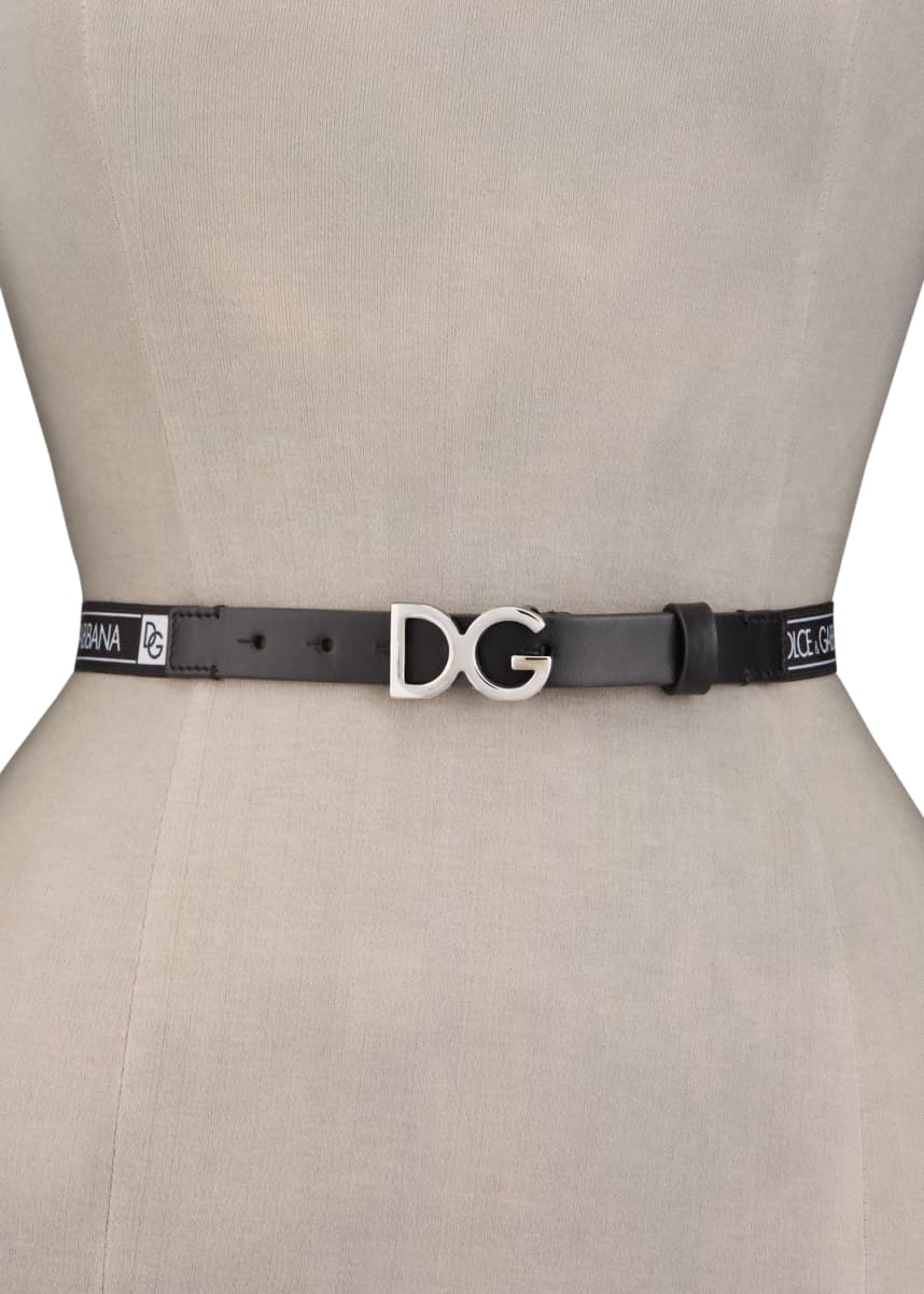 Dolce & Gabbana Kid's DG Leather Buckle Belt, Size S-XL