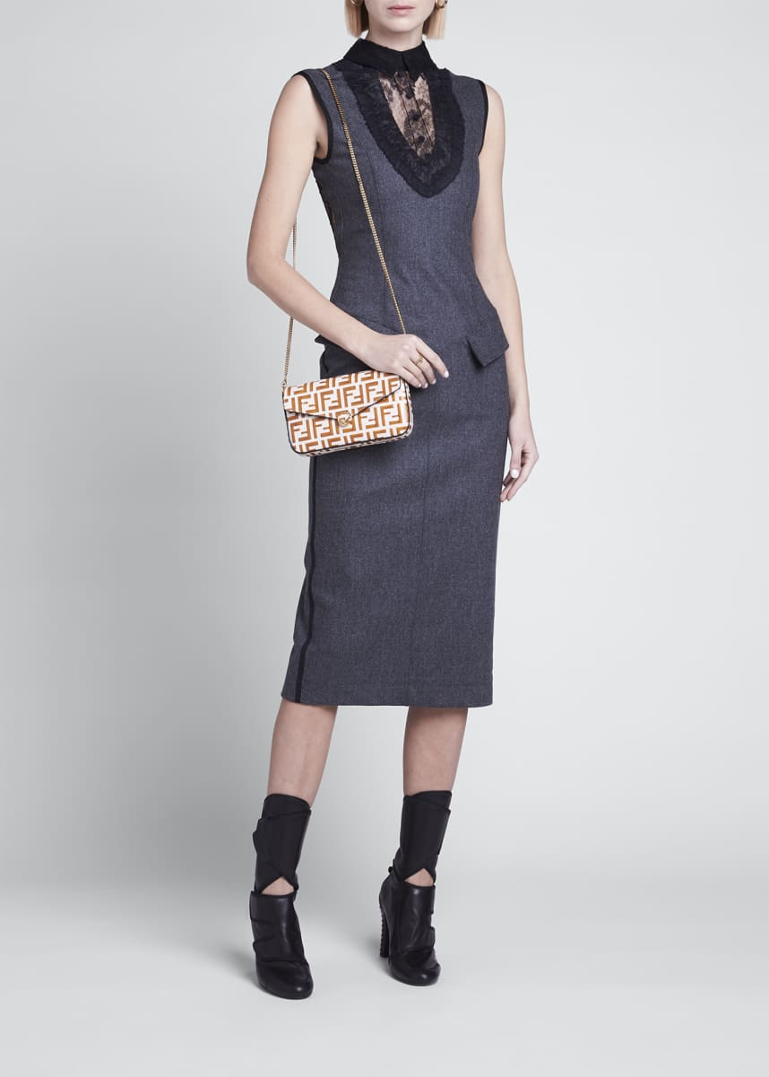 Fendi Cashmere Flannel Lace Midi Dress