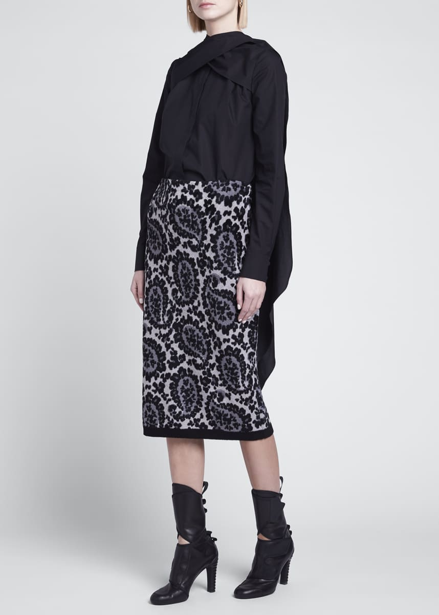 Fendi Leopard Paisley Knit Pencil Skirt