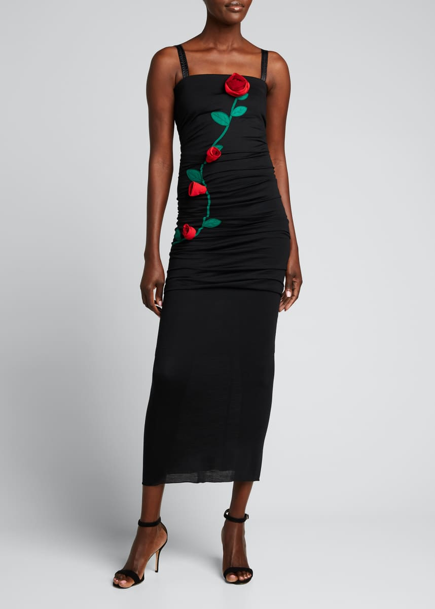 Dolce & Gabbana Rose-Embroidered Body-Con Midi Dress