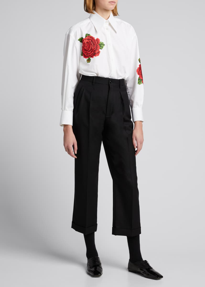 Dolce & Gabbana Cross-Stitch Rose Poplin Shirt