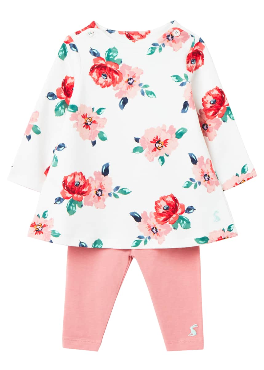 Joules Girl's Christina Floral 2-Piece Dress Set, Size 3-24M
