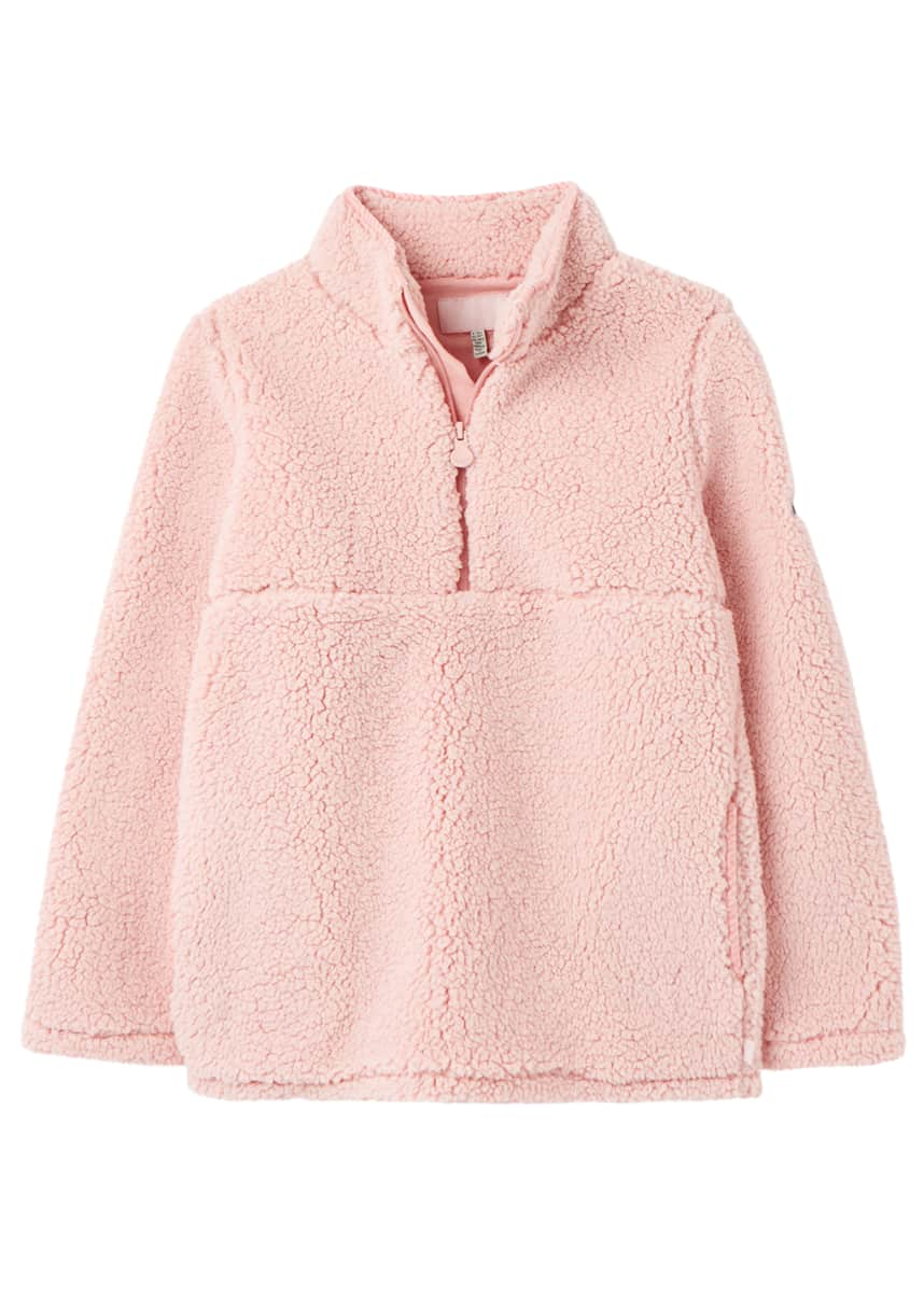 Joules Girl's Poppie Sherpa Fleece Quarter-Zip Sweater, Size 2-12