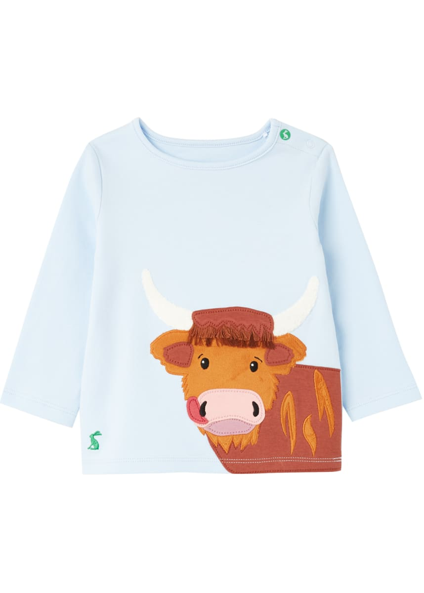 Joules Kid's Angus Animal Applique Crewneck Shirt, Size 3-24M