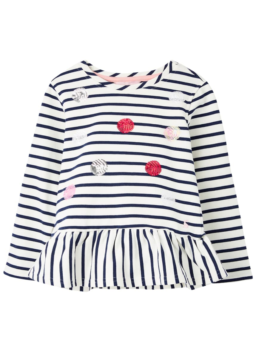 Joules Girl's Lillie Striped Sequin Embellished Peplum Top, Size 2-12