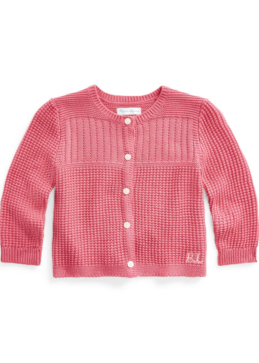 Ralph Lauren Childrenswear Girl's Combed Cotton Rib Knit Cardigan, Size 9-24M