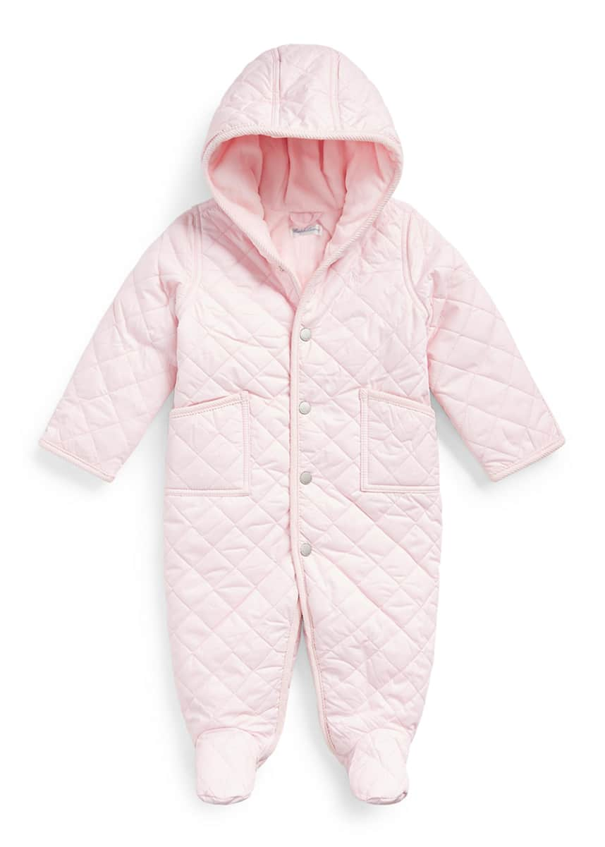 Ralph Lauren Childrenswear Girl's Hooded Cotton Quilted Snowsuit, Size 3-9M