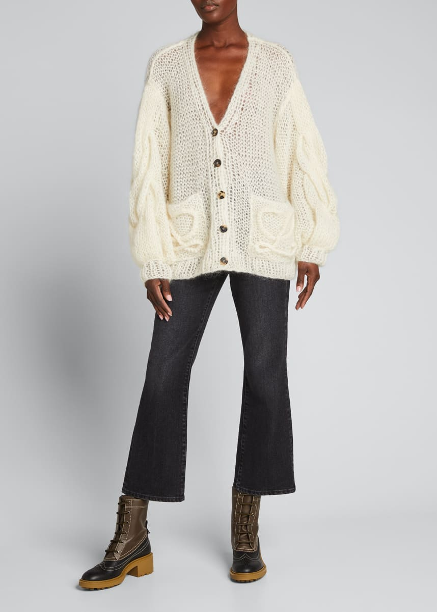 Loewe Oversized Embroidered Logo Cardigan Sweater