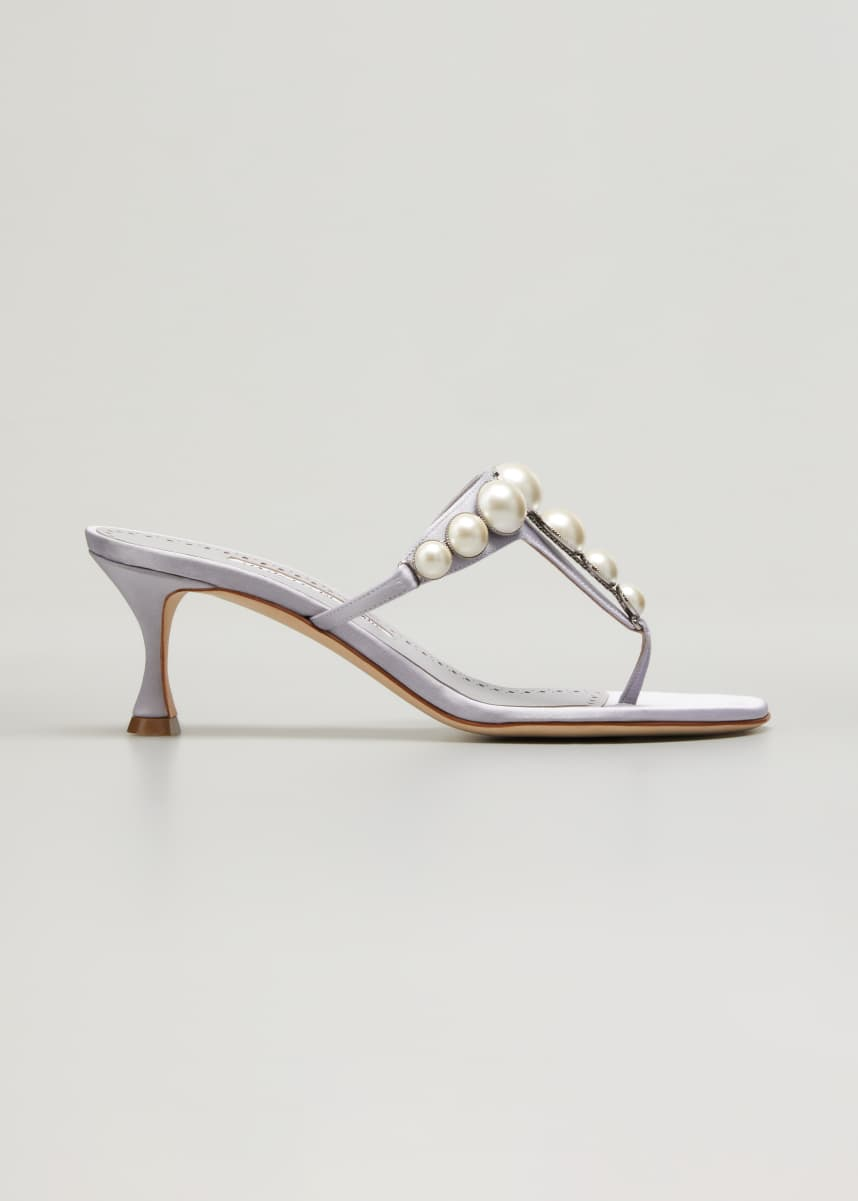 Manolo Blahnik Perlosa Pearly Stud Kitten-Heel Thong Sandals