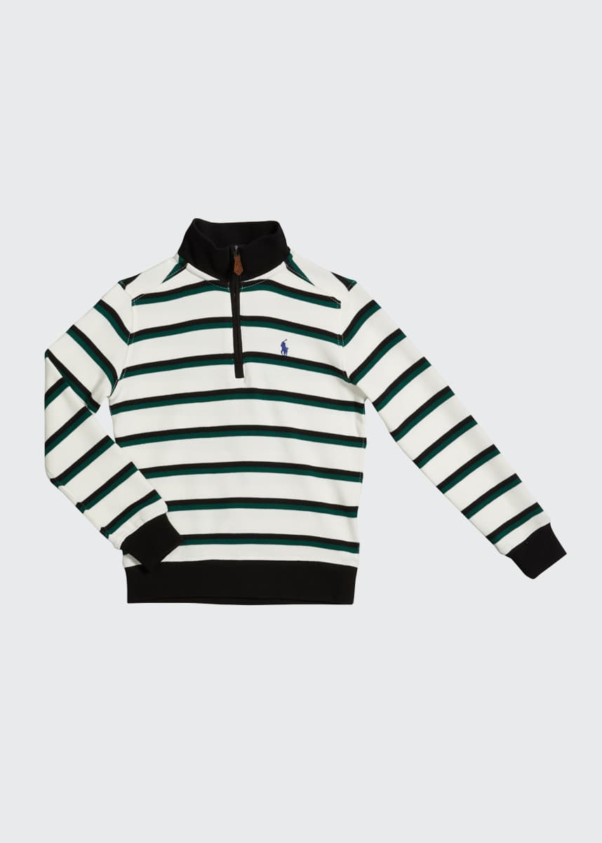 Ralph Lauren Childrenswear Boy's Striped Quarter-Zip Sweater, Size 2-4